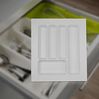 White Cutlery Tray for Kitchen Drawer Inserts 390x440mm, Utensil Tray
