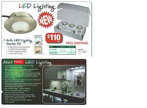 Kitchen cabinet white LED Lights Brushed Nickel Finish