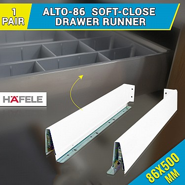 Buy Alto 86 500mm Soft Close Drawer Slides For Kitchen Cabinet Handles And More