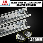 Ball bearing drawer runners, full extension, load-bearing capacity up to 45 kg