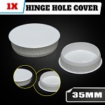 White hinge hole cover for kitchen vanity laundry cabinet cupboard door