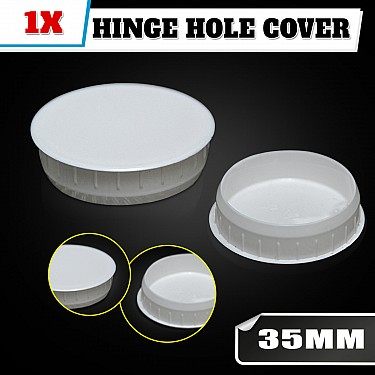 White Hinge Hole Cover For Kitchen Vanity Laundry Cabinet