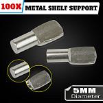 100 x 5mm Metal Shelf Supports Kitchen Laundry Cupboard Bathroom Nickel
