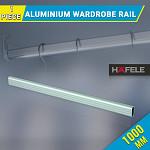 Wardrobe Rail Aluminium Silver Anodized Oval, hangs clothes